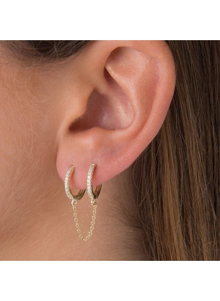 Fashion-Click Oorbel 2 Zircon Hoops & Chain