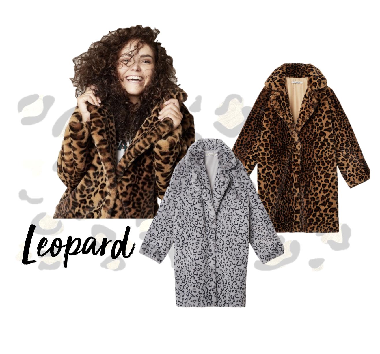 leopard print faux fur jassen bruin grijs nepbont herfst trend