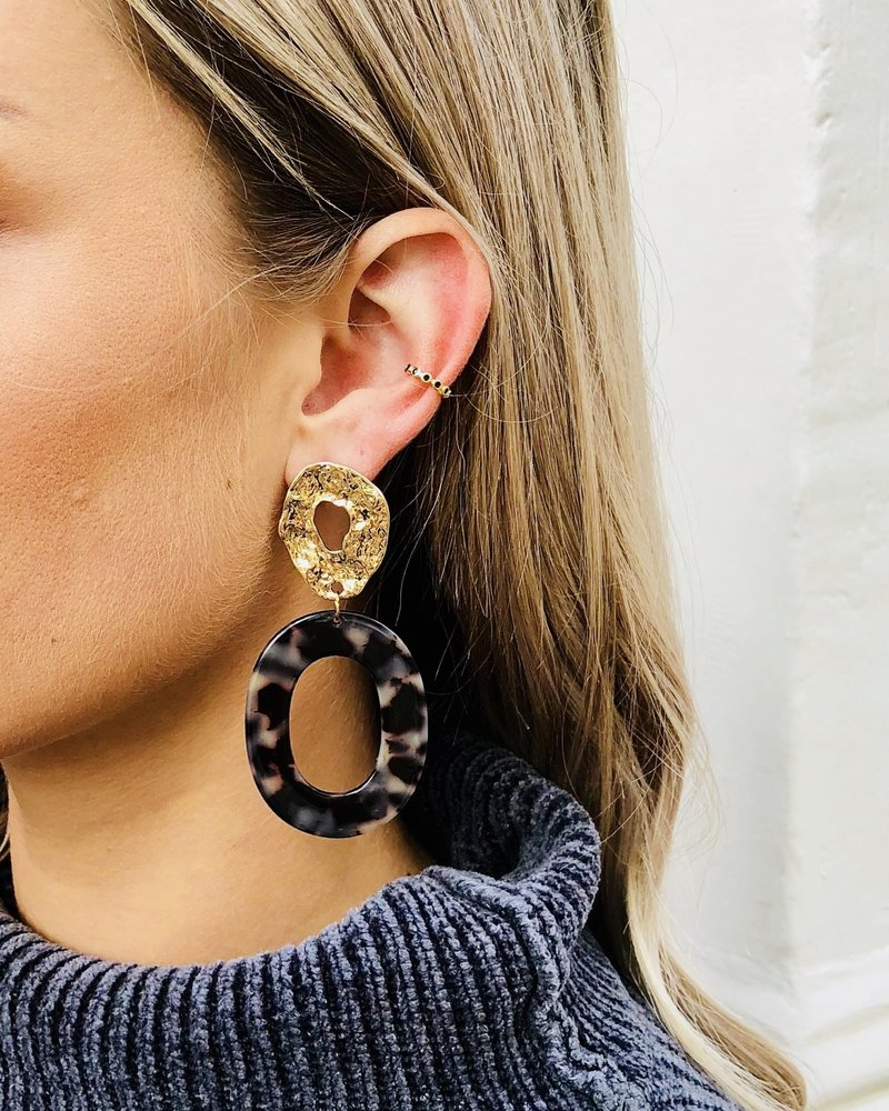 Fashion-Click Earcuff Black Stones Basic