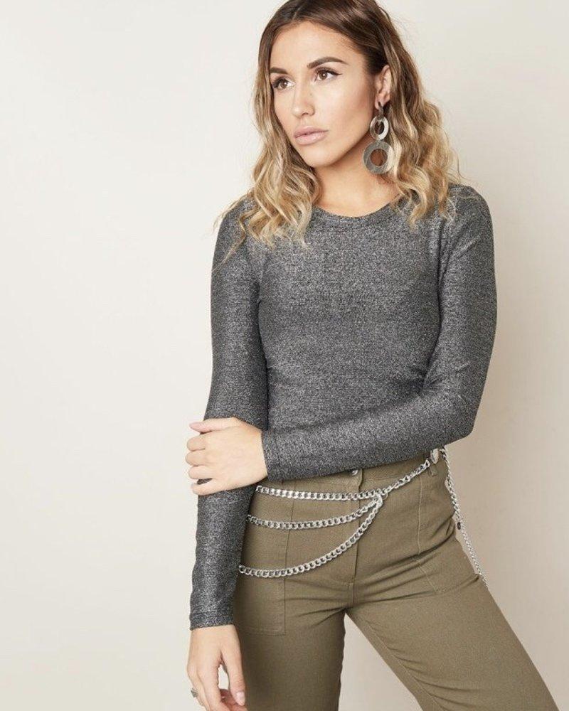 Fashion-Click Top Pretty Silver Glitter