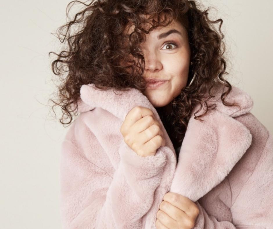 pink faux fur jas roze dik warm furry