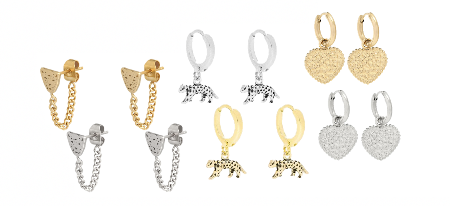 leopard-oorbellen-goud-zilver-hangertjes-bedel