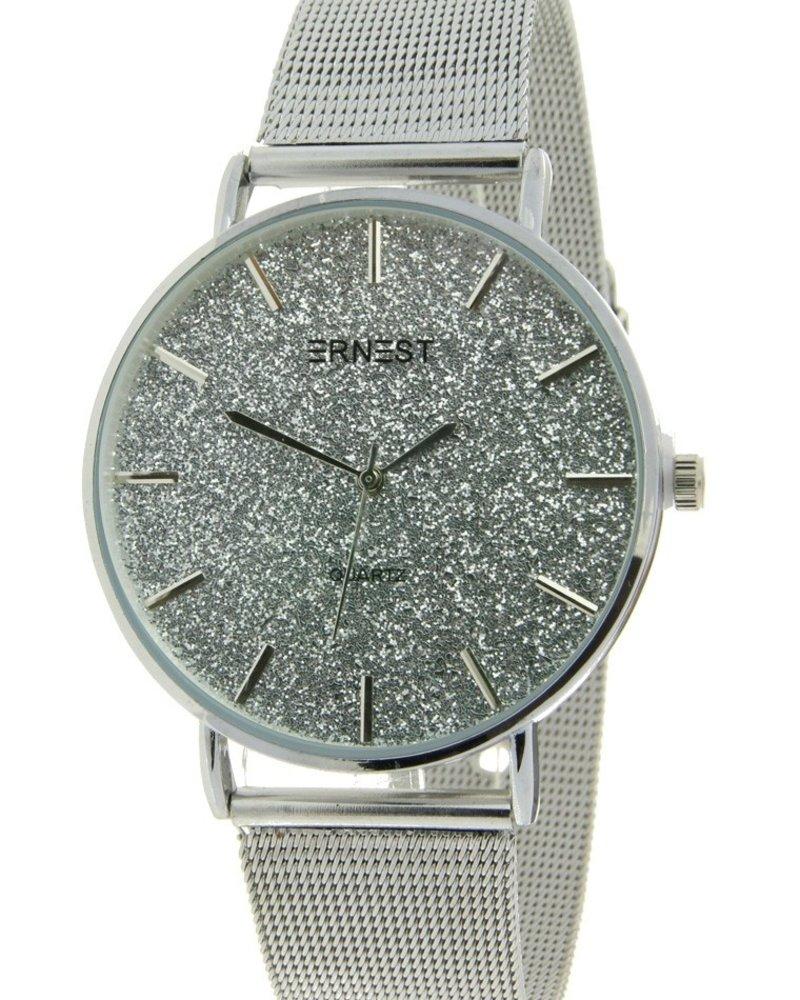 Fashion-Click Horloge Glitter Zilver