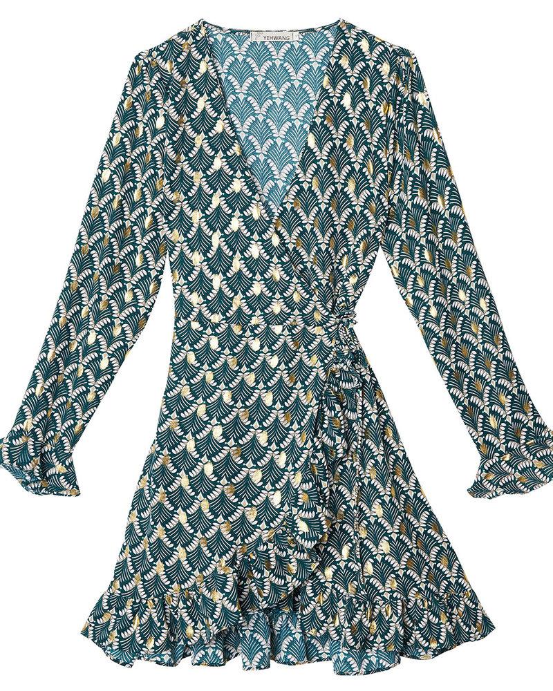jurk-groen-omslag-wrap-gold-detail-goud