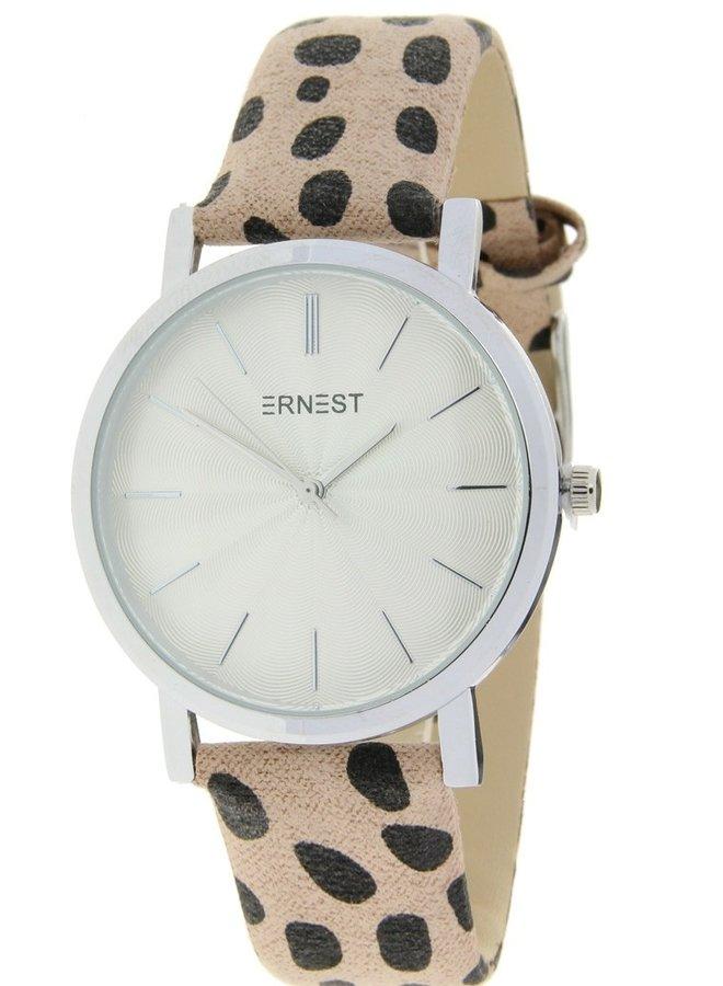 Horloge Minimalist Cheetah Beige Zilver