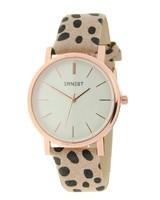 Fashion-Click Horloge Minimalist Cheetah Beige Rose