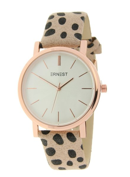 Fashion-Click Horloge Minimalist Cheetah Beige Rose