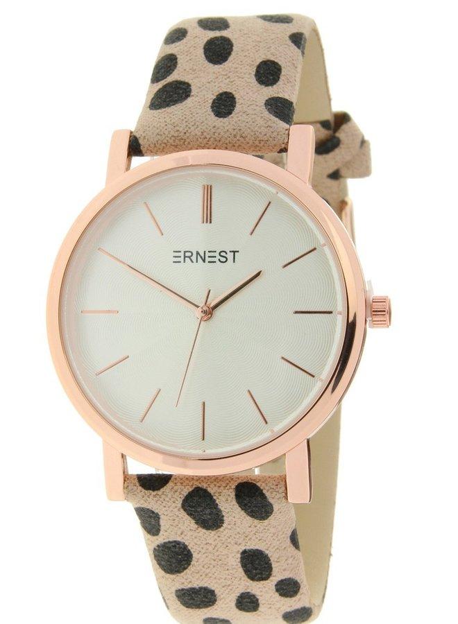 Horloge Minimalist Cheetah Beige Rose