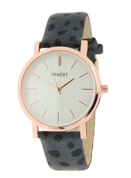 Fashion-Click Horloge Minimalist Cheetah Grijs Rose