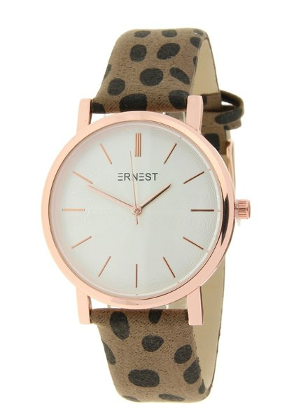Fashion-Click Horloge Minimalist Cheetah Mocca Rose