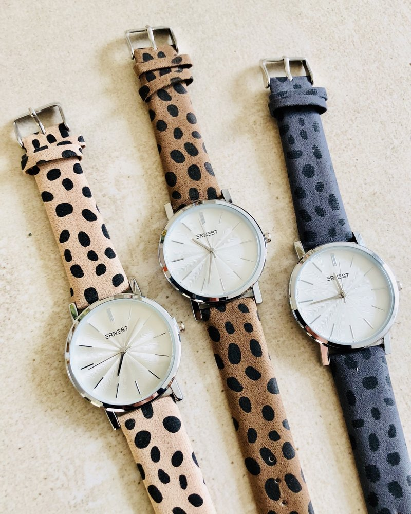 Fashion-Click Horloge Minimalist Cheetah Beige Zilver