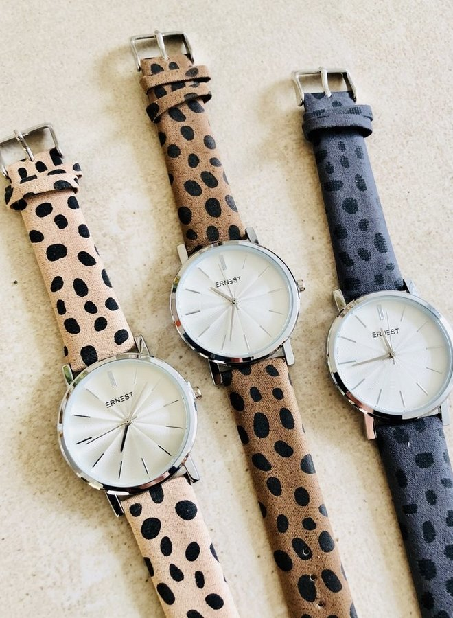 Horloge Minimalist Cheetah Mocca Zilver