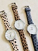 Fashion-Click Horloge Minimalist Cheetah Mocca Zilver