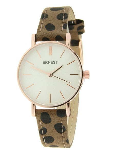 Fashion-Click Horloge Mini Cheetah Mocca