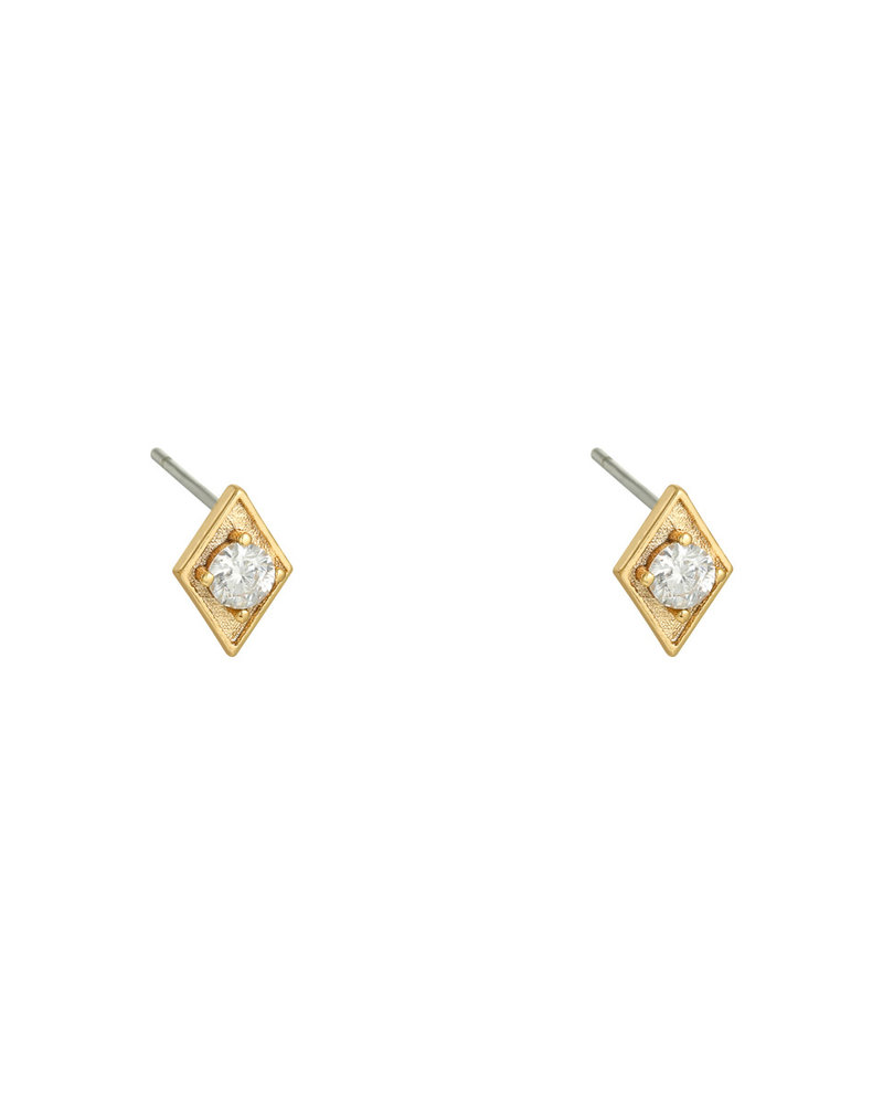 Fashion-Click Oorknopjes Triangle White Stone