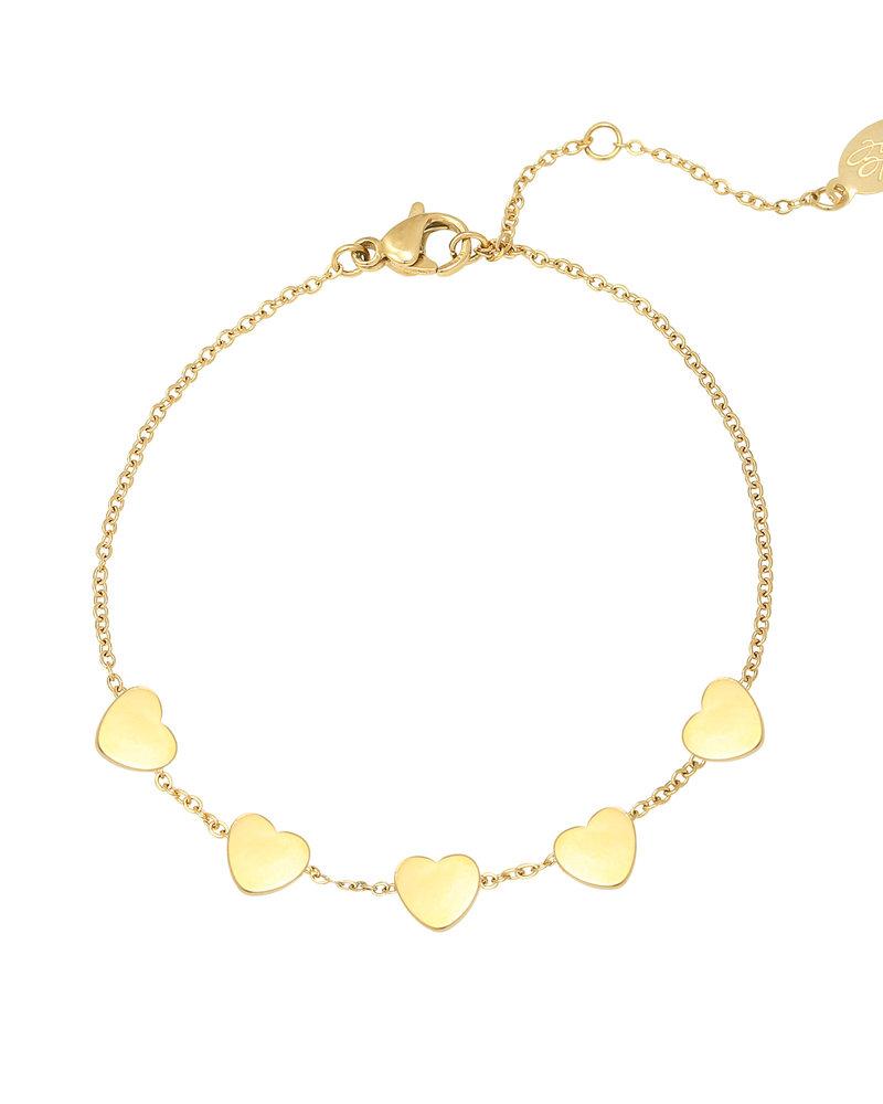 Fashion-Click Armband 5 Hearts