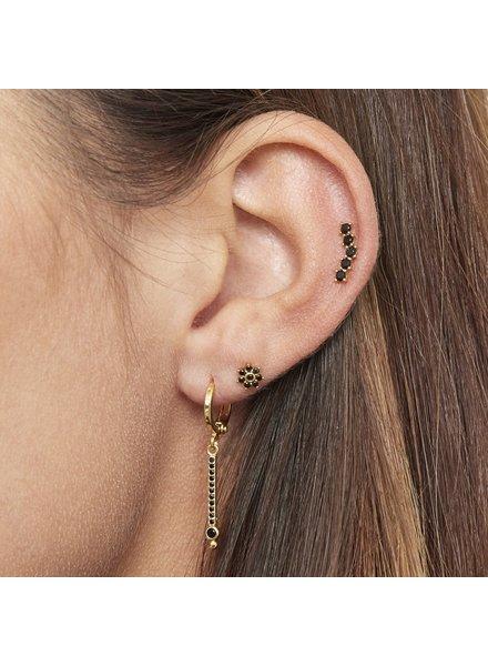 Fashion-Click Piercing Black Stones Deluxe