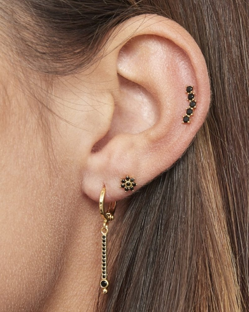 Fashion-Click Piercing Black Stones Deluxe