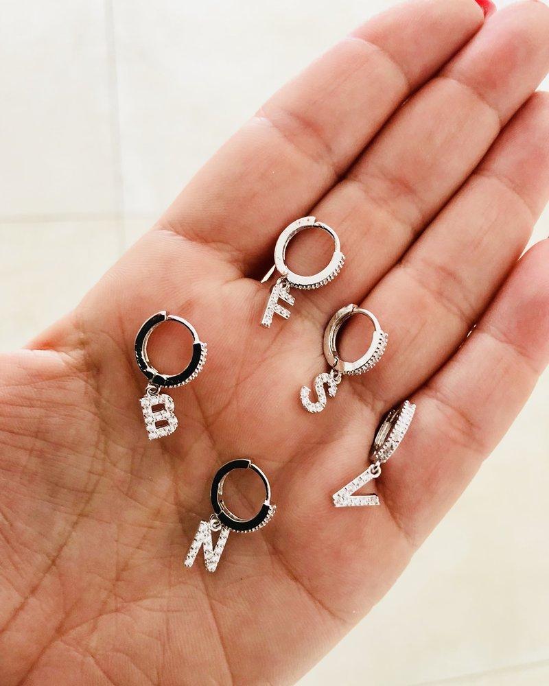Fashion-Click Oorbel Zircon Initial