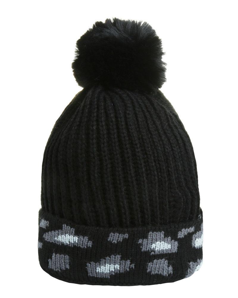 Fashion-Click Beanie Leopard Black