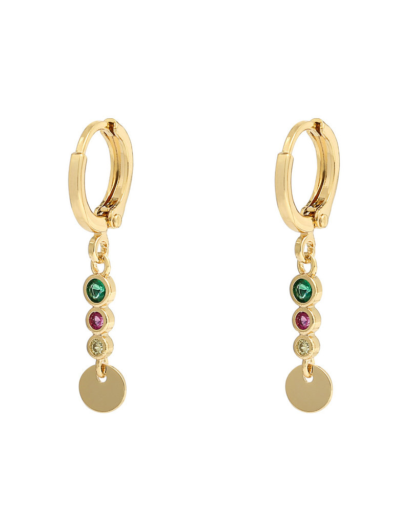 Fashion-Click Oorbellen Colourfull Gems & Coin