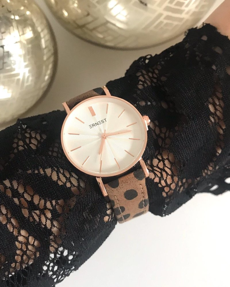 Fashion-Click Horloge Mini Cheetah Mocca