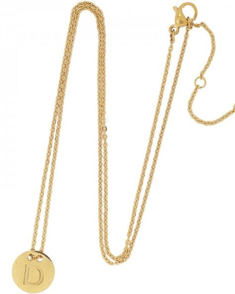 Fashion-Click Ketting Coin Initial Goud