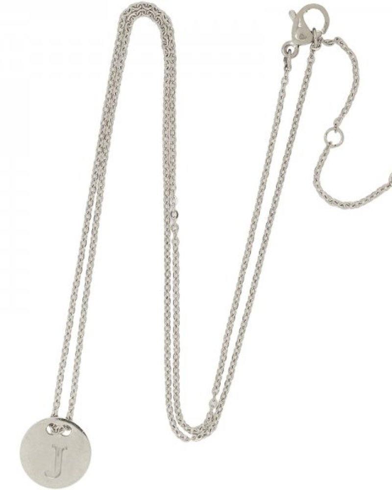 Fashion-Click Ketting Coin Initial Zilver