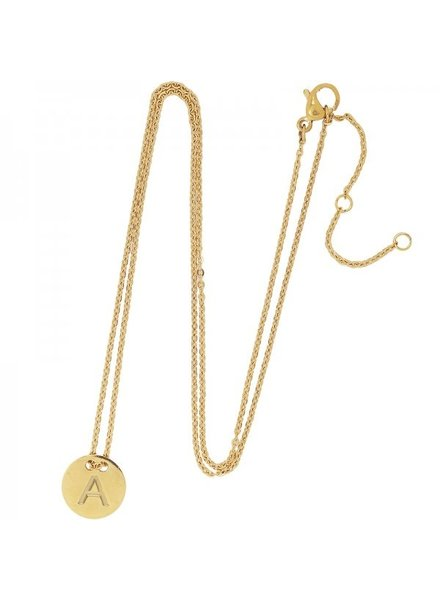 Fashion-Click Ketting Coin Initial Goud