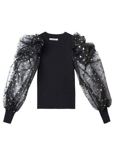 Fashion-Click Top Black & Golden Dots