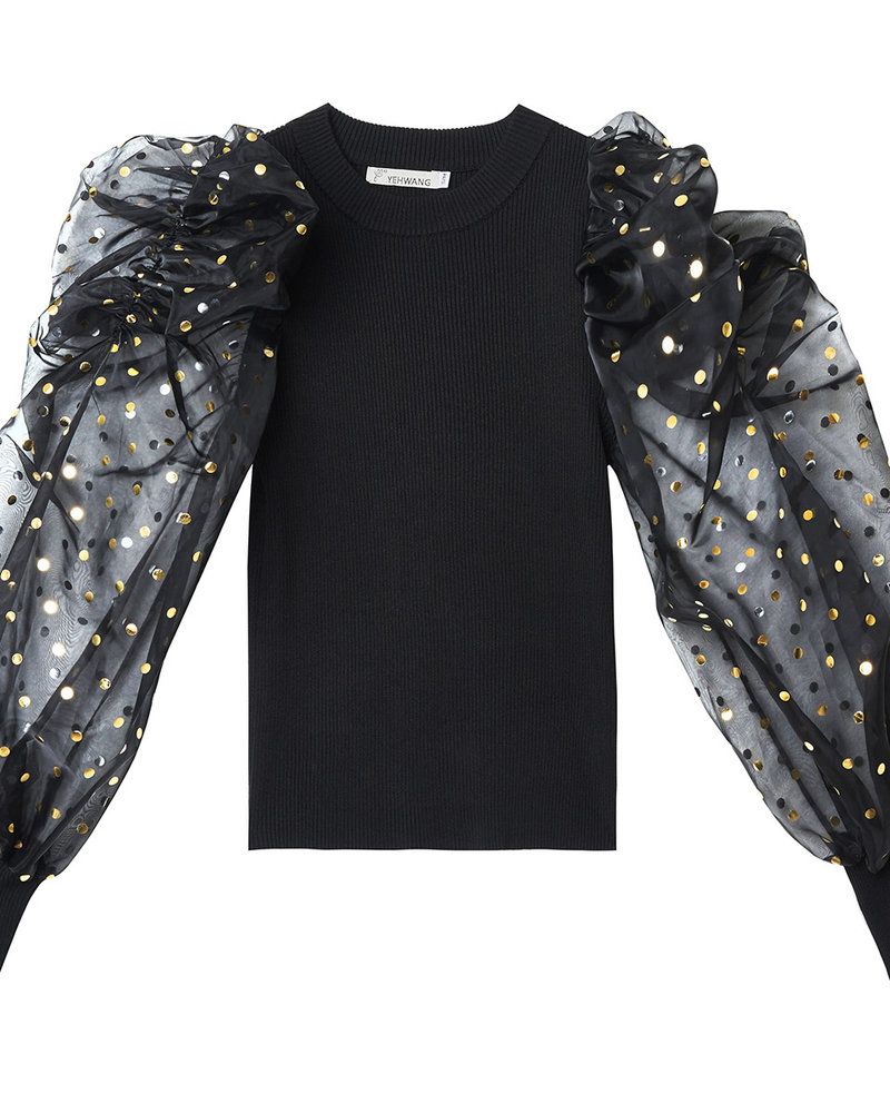 Fashion-Click Top Black & Golden Dots