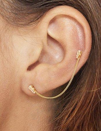 Fashion-Click Oorbel 2 Stones & Chain