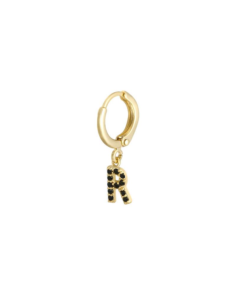 Fashion-Click Oorbellen Black Zircon Initial Classic