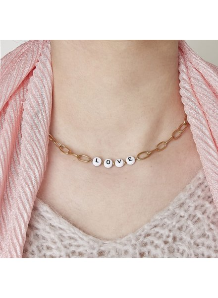Fashion-Click Ketting Tekst Beads