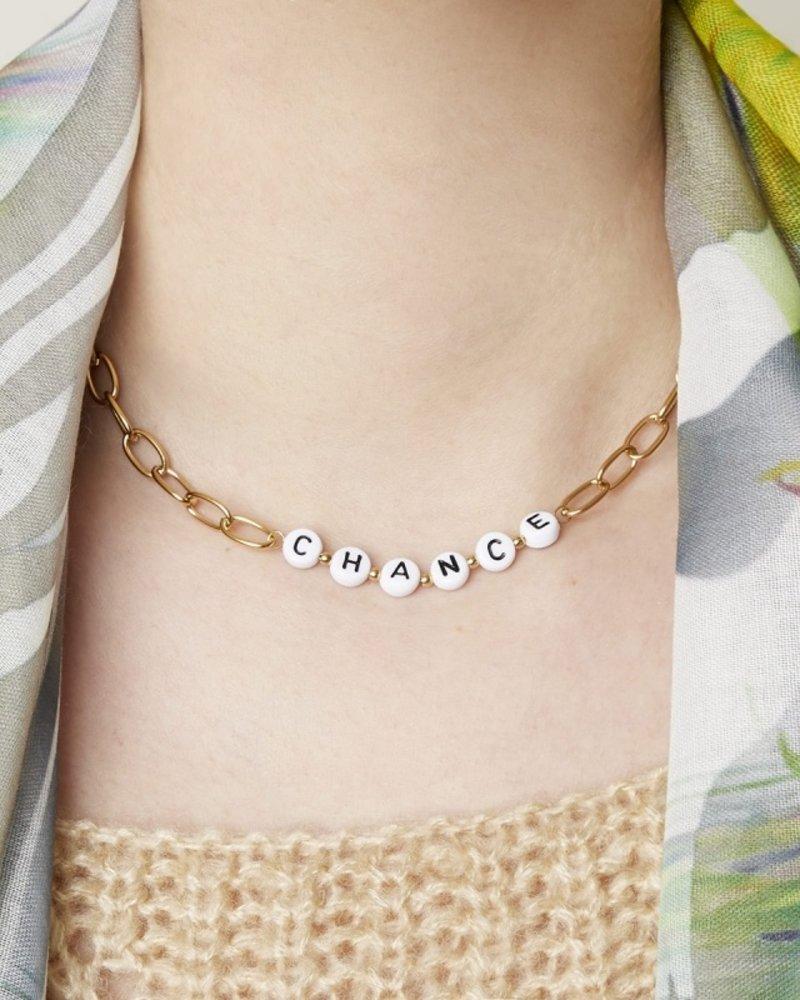 Fashion-Click Ketting Tekst Beads