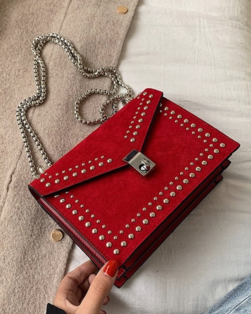 Fashion-Click Tasje Suede Red