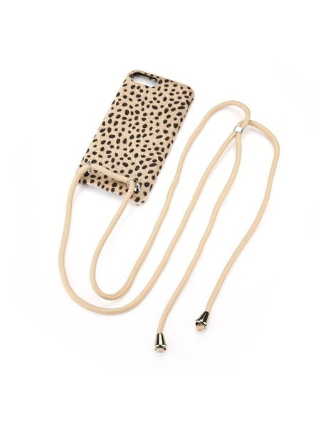 Fashion-Click Iphone Hoesje Cheetah Cord Beige