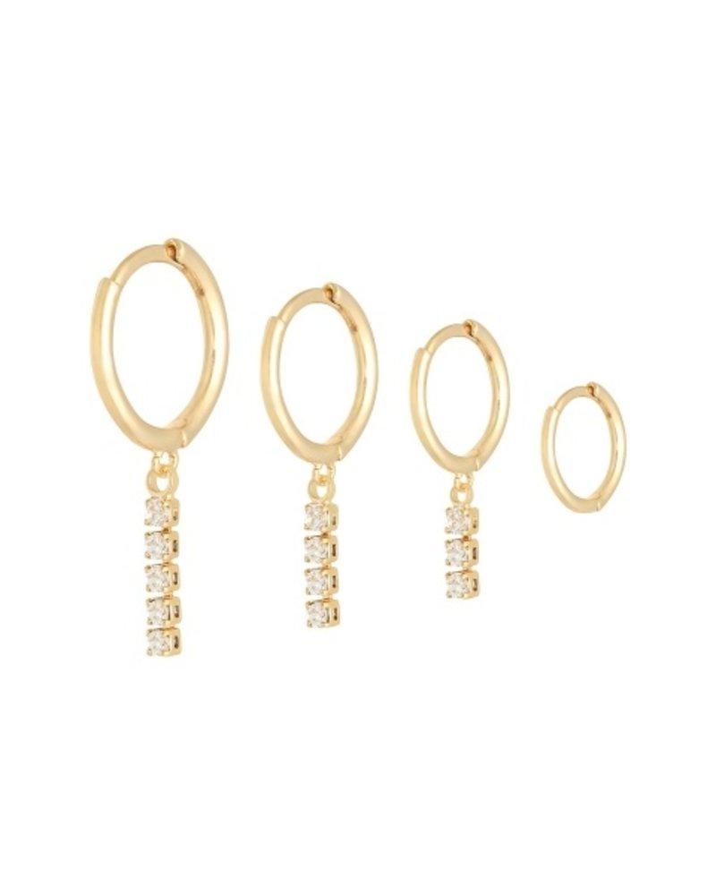 Fashion-Click Oorbellen Setje Zircon Bars