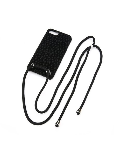 Fashion-Click Iphone Hoesje Cheetah Cord Black