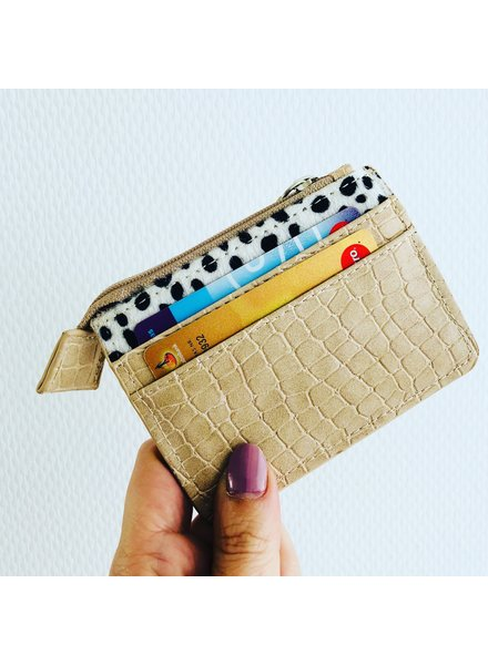 Fashion-Click Pasjes Houder Beige Cheetah