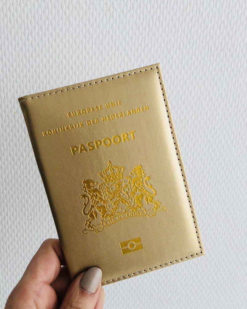 Fashion-Click Paspoorthoesje Metallic Gold