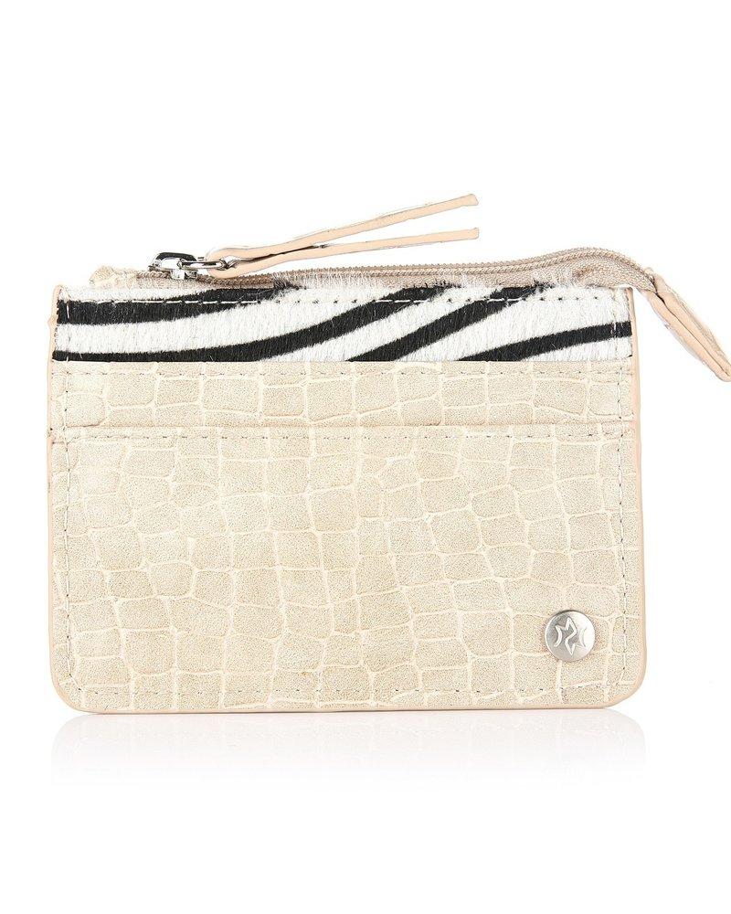 Fashion-Click Pasjes Houder Beige Zebra