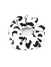 Fashion-Click Scrunchie White Leopard Spots
