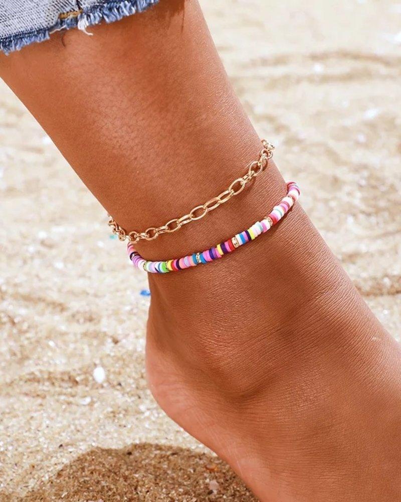 Fashion-Click Enkelband Setje Colourfull Beach