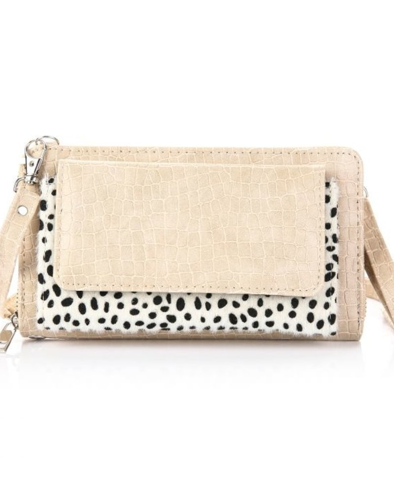 Fashion-Click Wallet Bag Cheetah Croco Beige