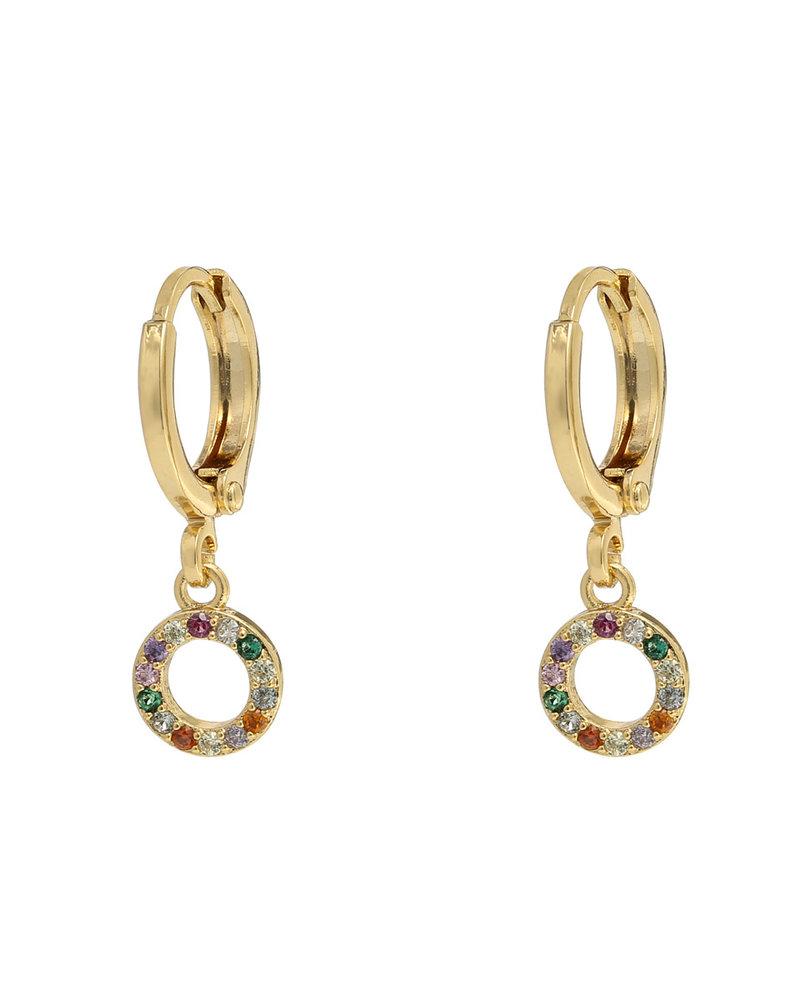 Fashion-Click Oorbellen Sparkling Roundie Rainbow
