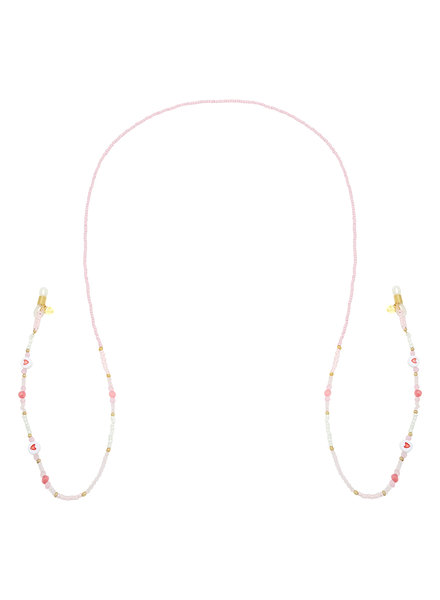 Fashion-Click Zonnebrilkoord Pink Beads & Hearts