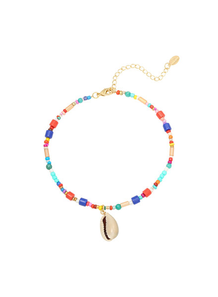 Fashion-Click Enkelbandje Colourfull Beads And Shell