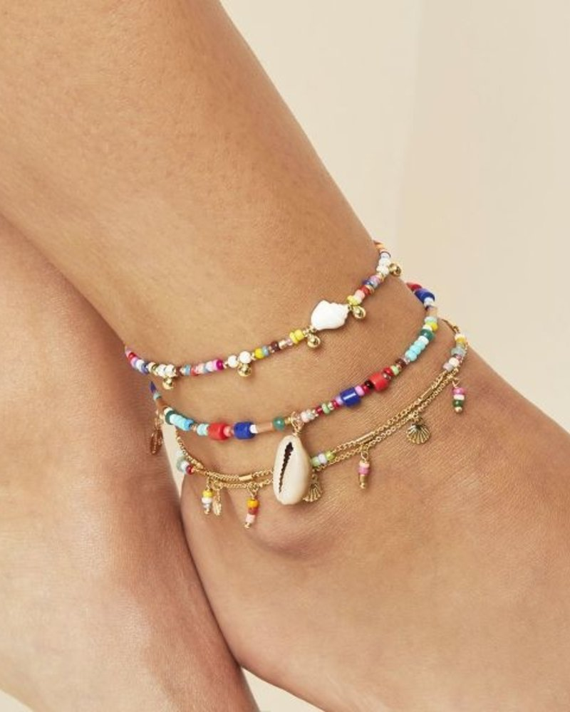 Fashion-Click Enkelbandje Colourfull Beads And Shell