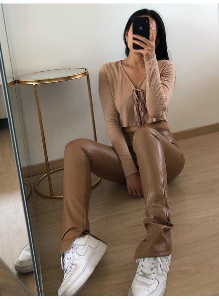 Fashion-Click Split Legging Leatherlook Camel